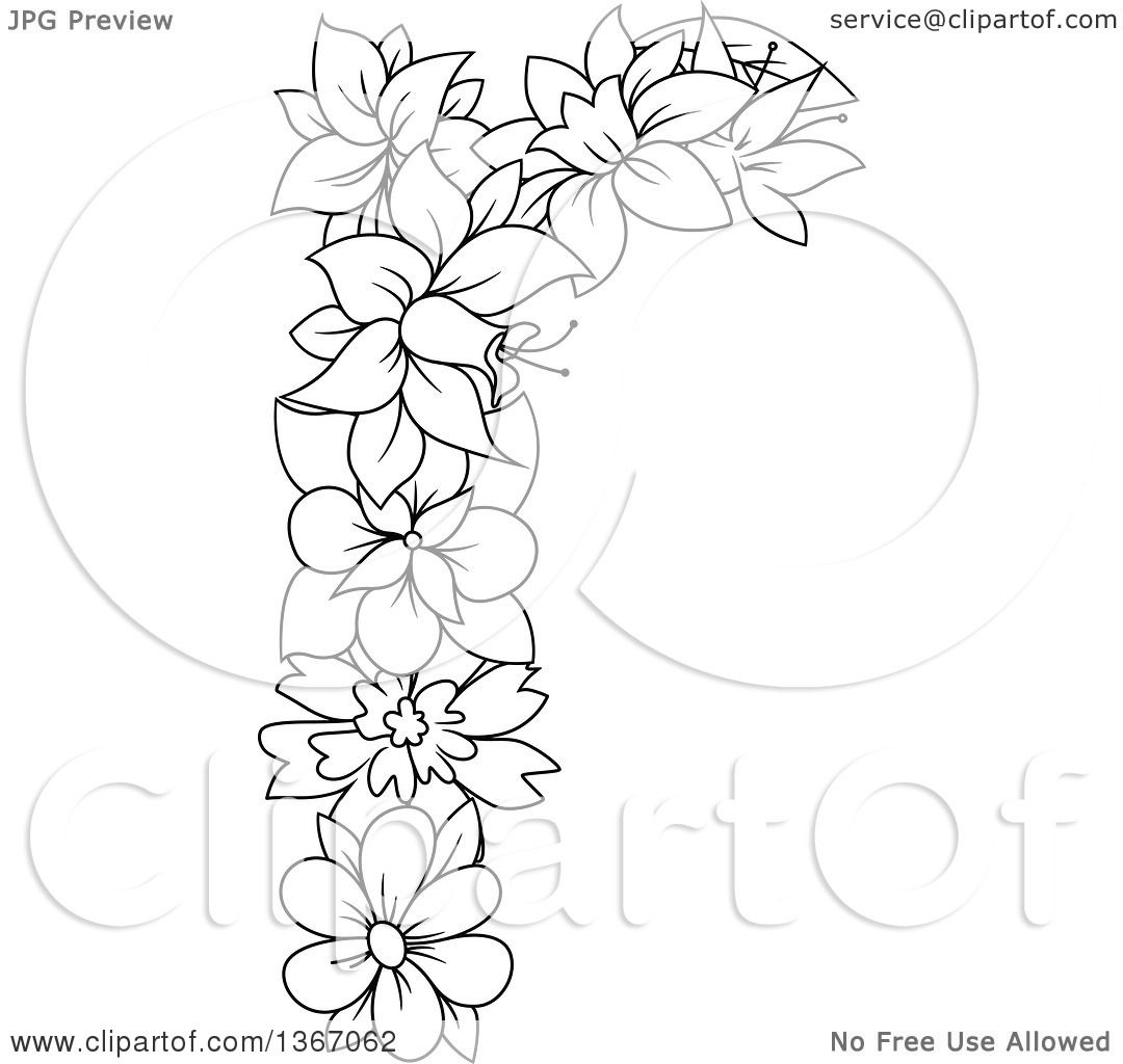 Clipart Of A Black And White Outline Floral Lowercase