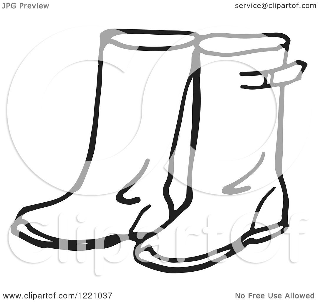 Clipart Of A Black And White Pair Of Rain Boots