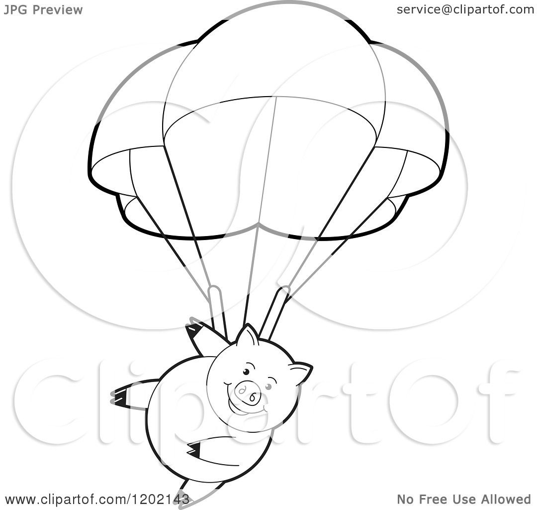 Clipart Of A Black And White Pig Parachuting