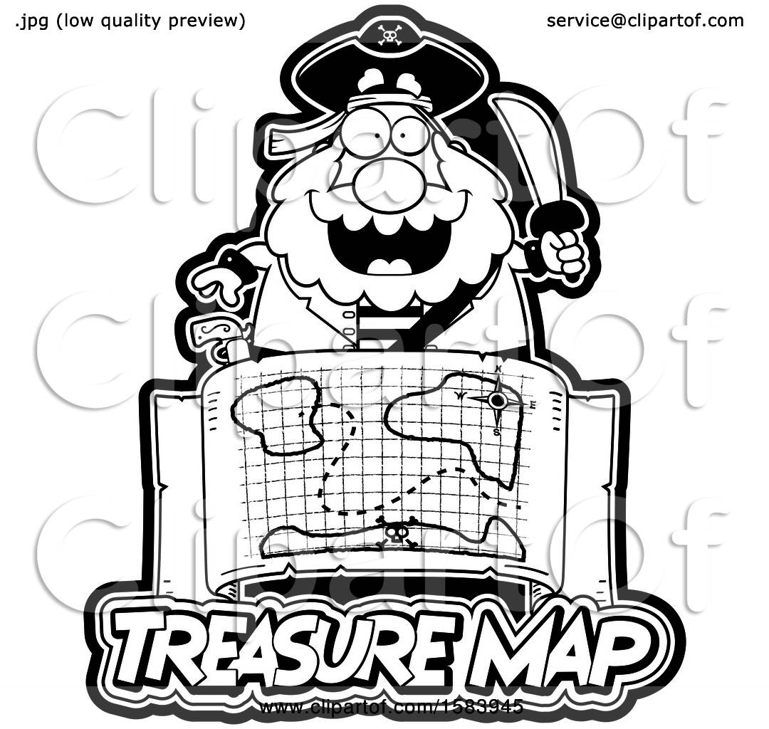 Clipart Of A Black And White Pirate Holding A Sword Over A