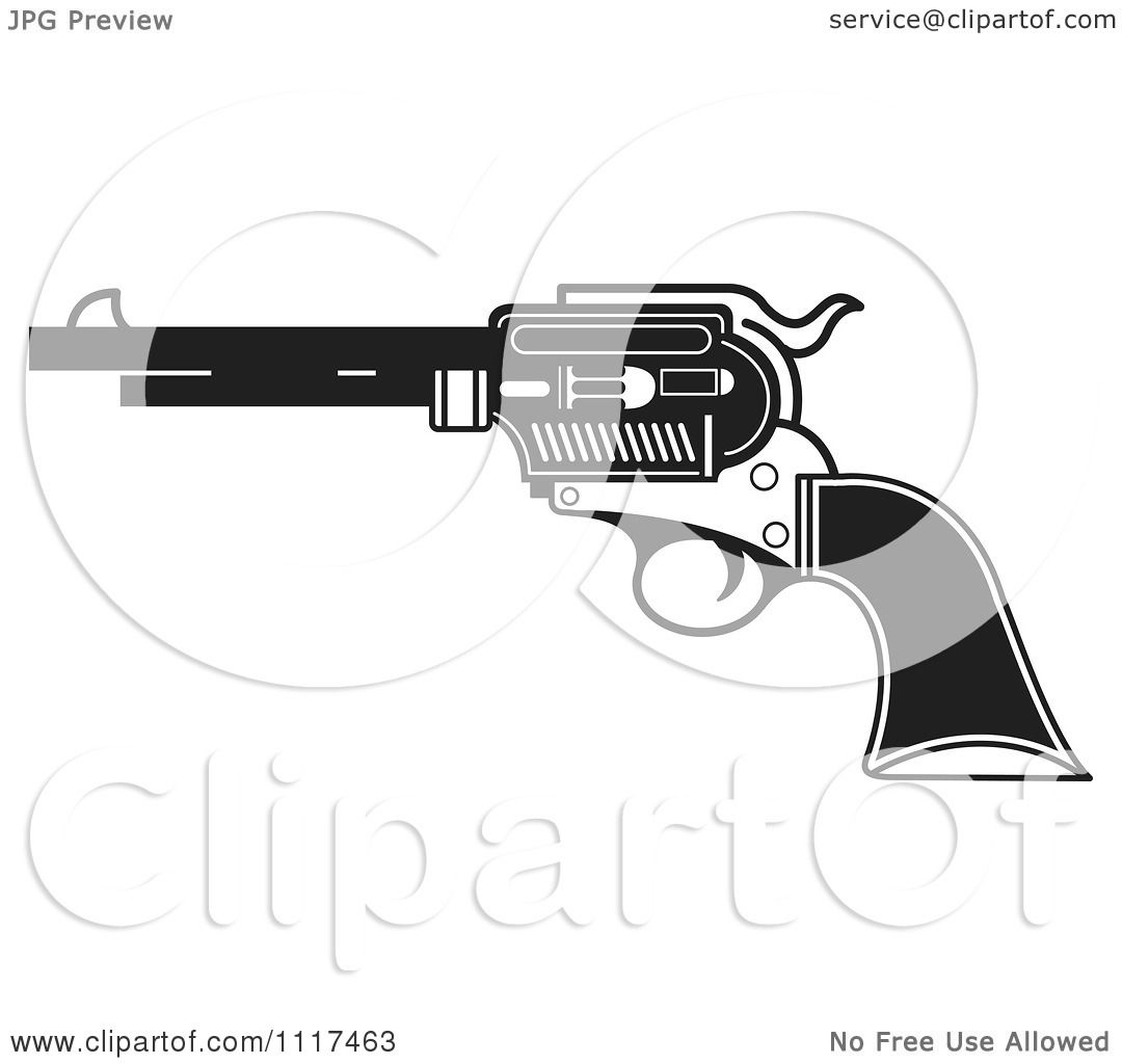 Clipart Of A Black And White Pistol Firearm Gun