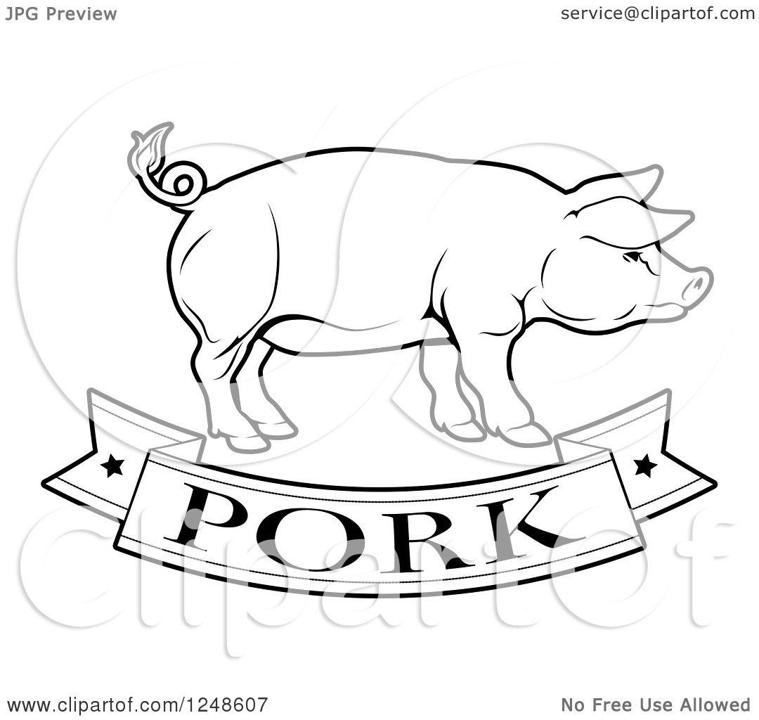 Clipart Of A Black And White Pork Food Banner And Pig