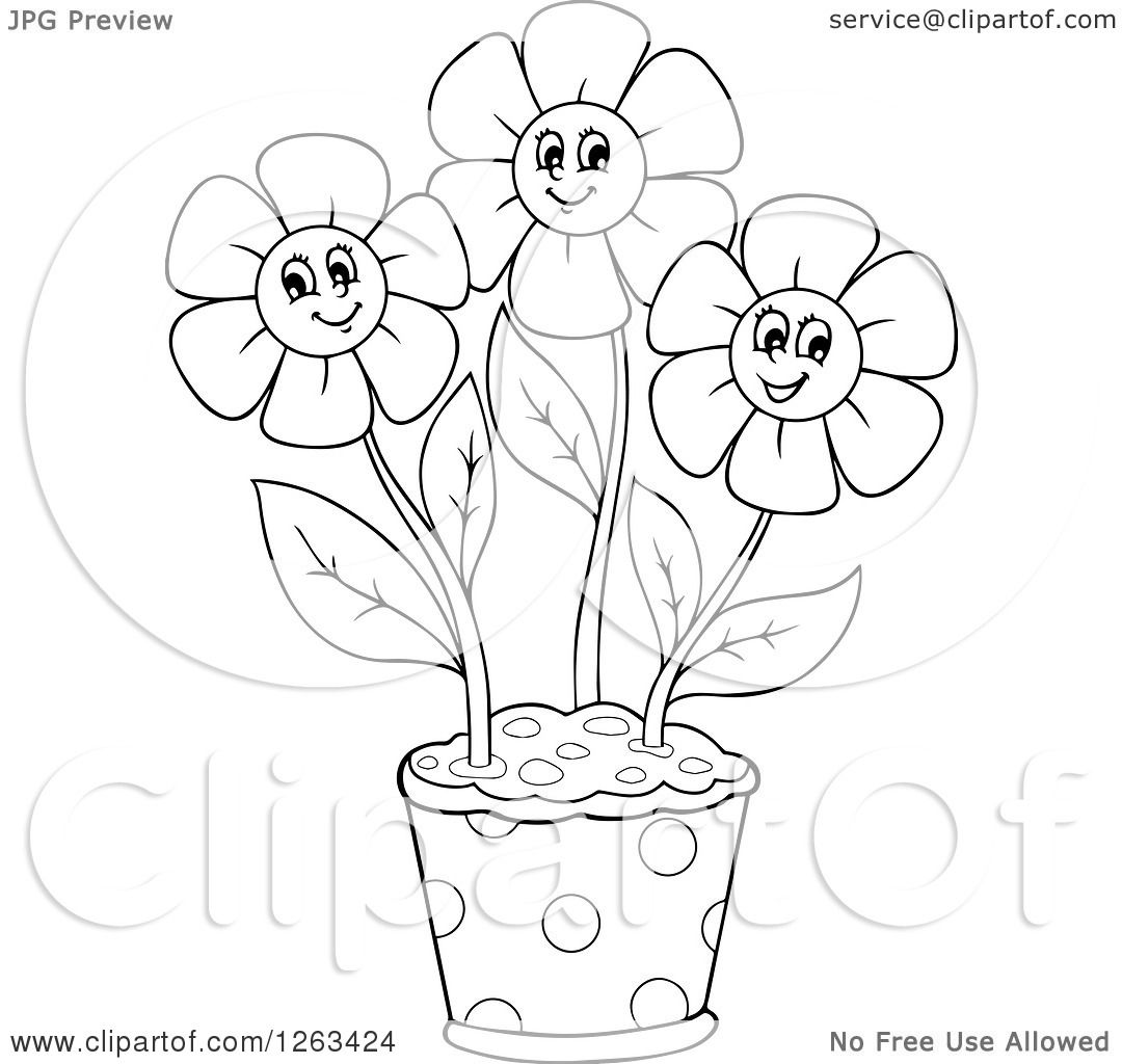 Clipart Of A Black And White Pot With Happy Flowers