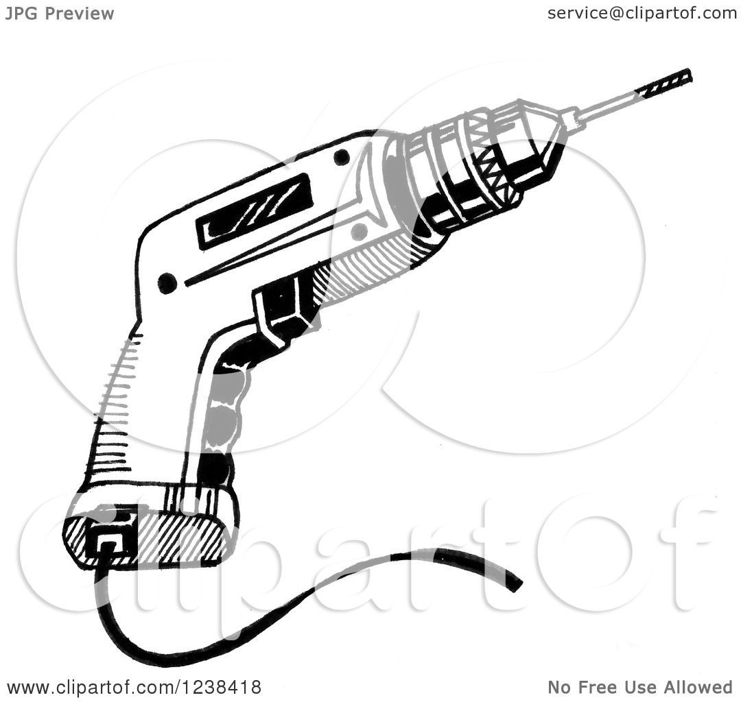 Clipart Of A Black And White Power Drill