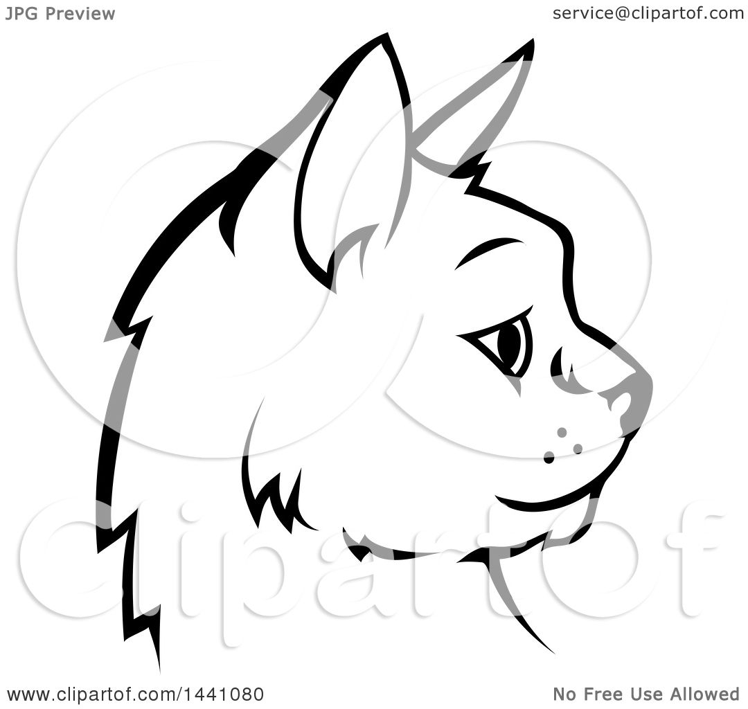 Clipart Of A Black And White Profiled Cat Face