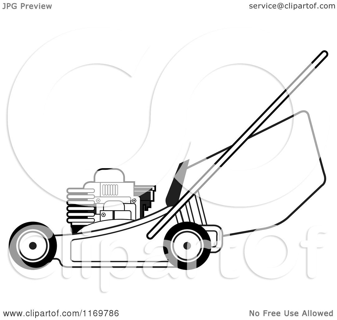 Clipart Of A Black And White Push Lawn Mower
