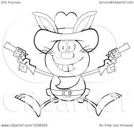 rabbit jumping clipart pistols cowboy illustration royalty vector hit regarding notes