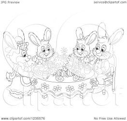 clipart rabbit eggs easter around illustration cake royalty vector bannykh alex