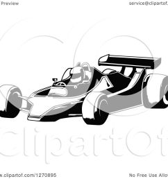 clipart of a black and white race car and driver facing left royalty free vector [ 1080 x 1024 Pixel ]