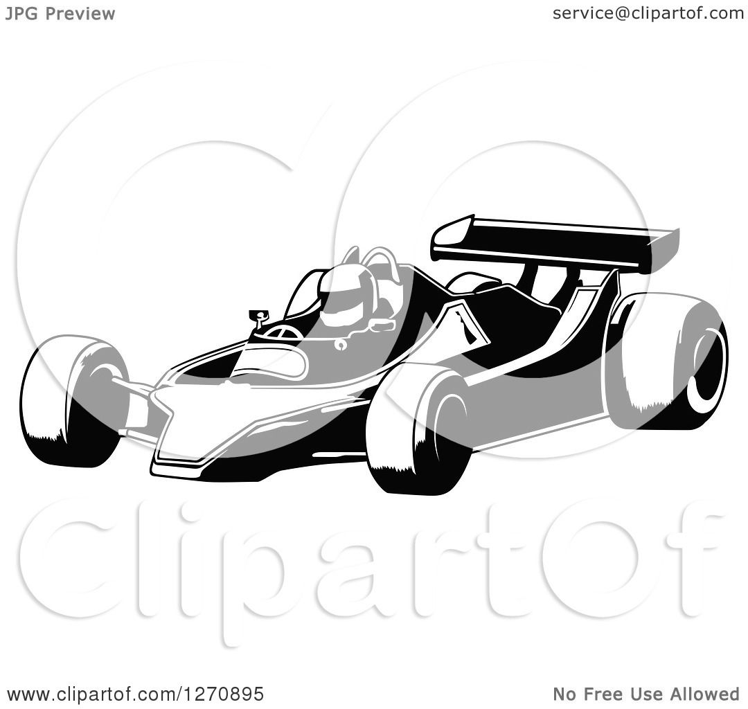 hight resolution of clipart of a black and white race car and driver facing left royalty free vector