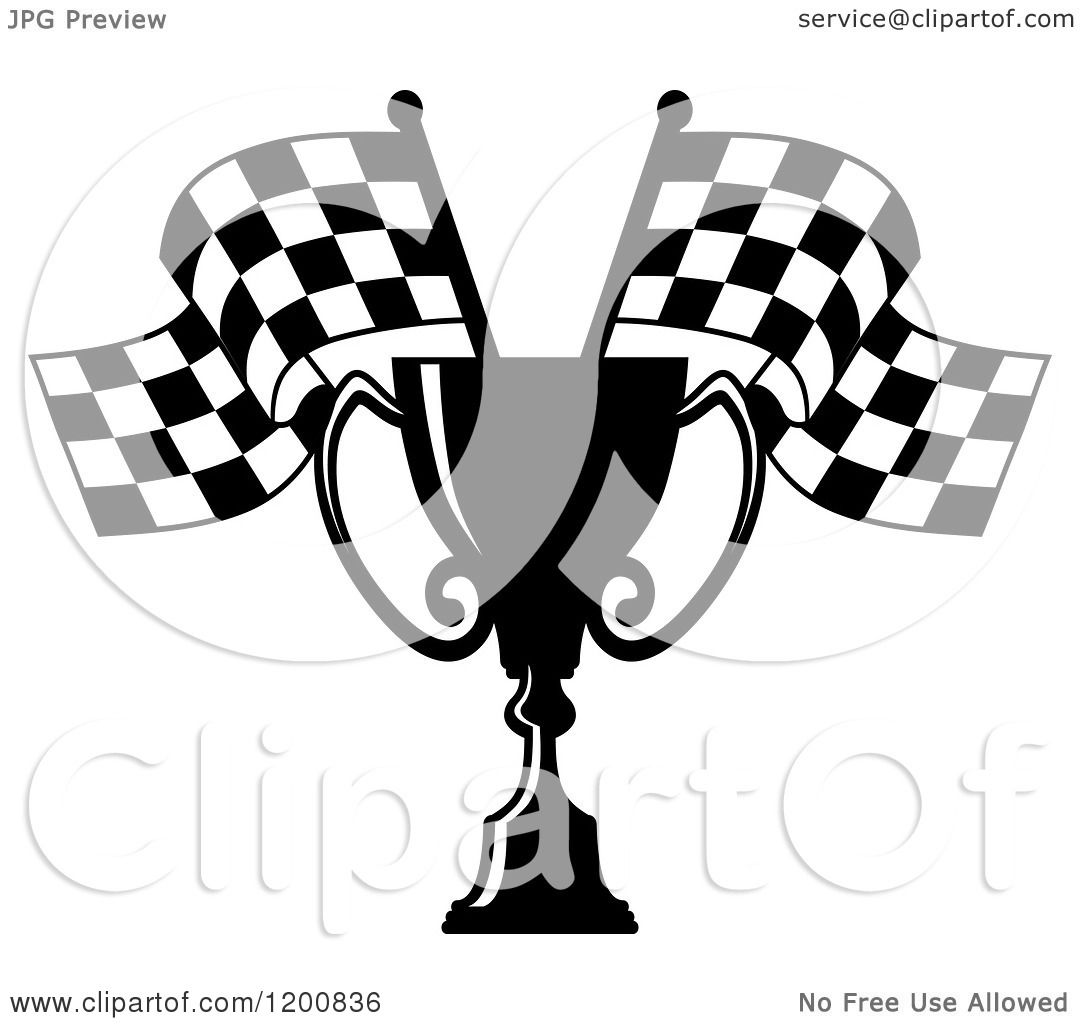 Clipart Of A Black And White Racing Trophy Cup And Checkered Flags
