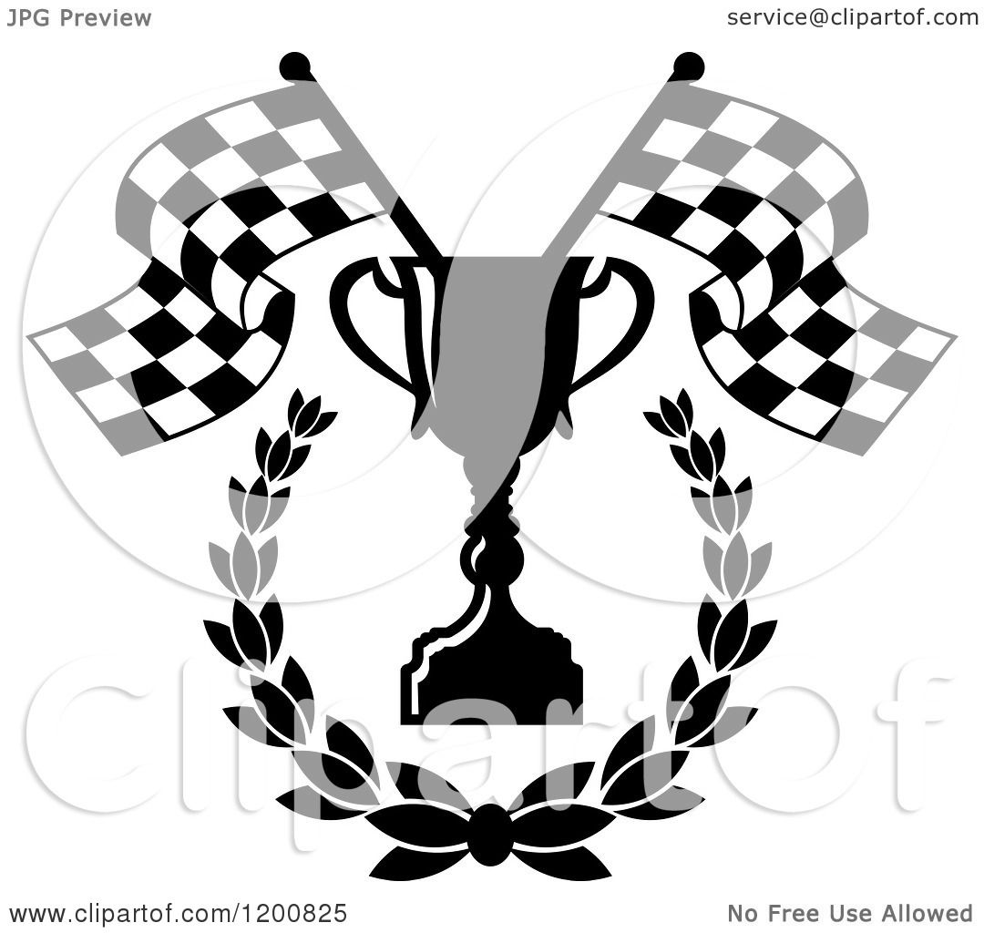 Clipart Of A Black And White Racing Trophy Cup Laurel And