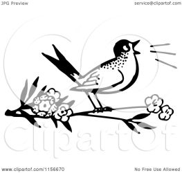 bird singing branch clipart royalty retro vector notes bestvector illustration copyright without