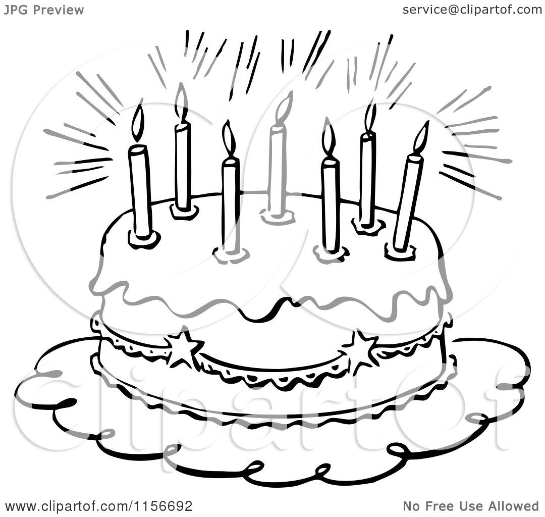 Clipart Of A Black And White Retro Birthday Cake And