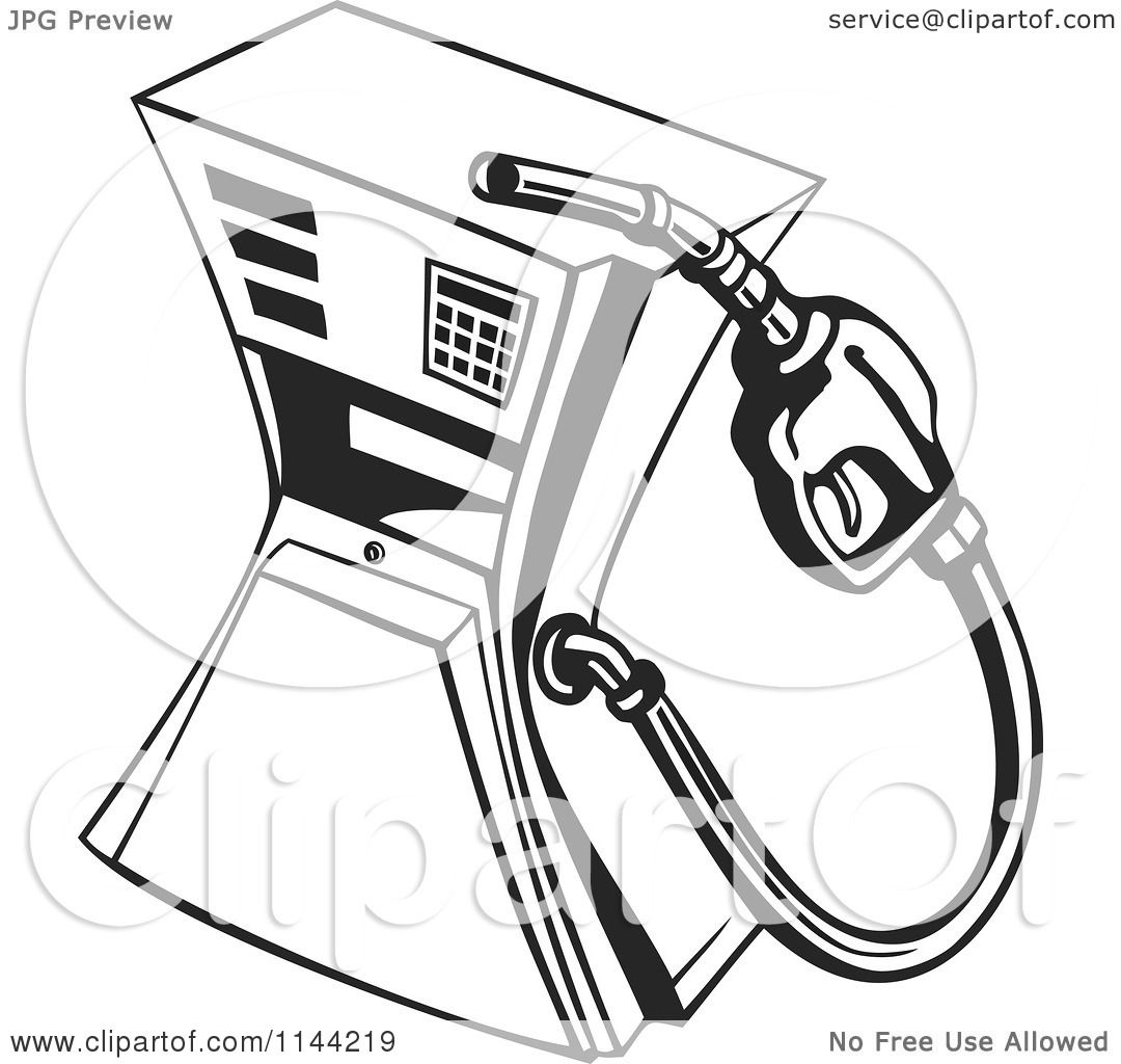 Clipart of a Black and White Retro Gas Station Pump