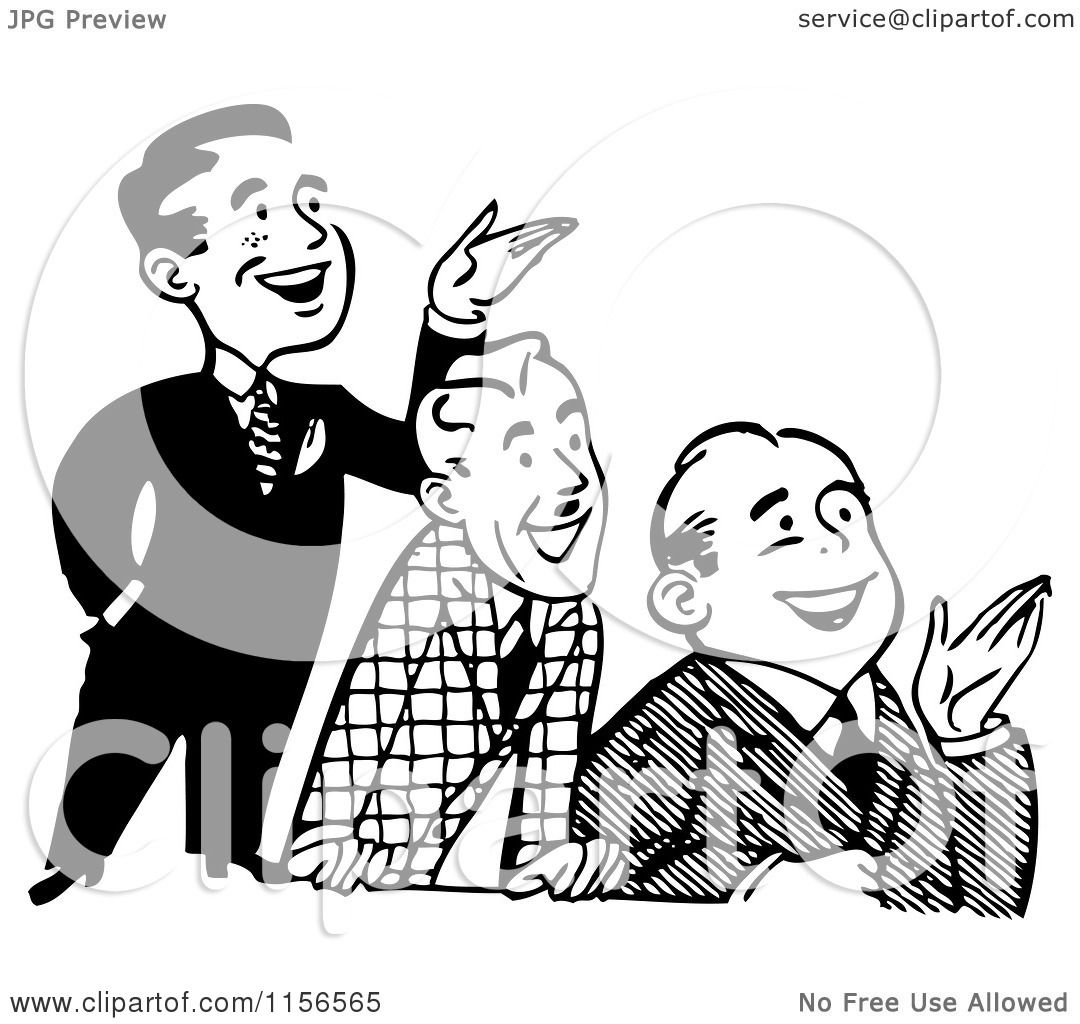 Clipart Of A Black And White Retro Group Of Happy Men