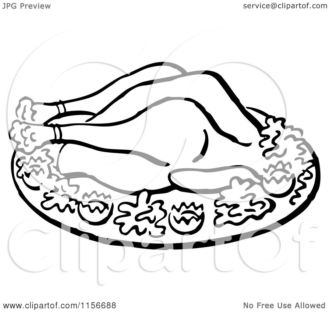Clipart Of A Black And White Retro Roasted Chicken