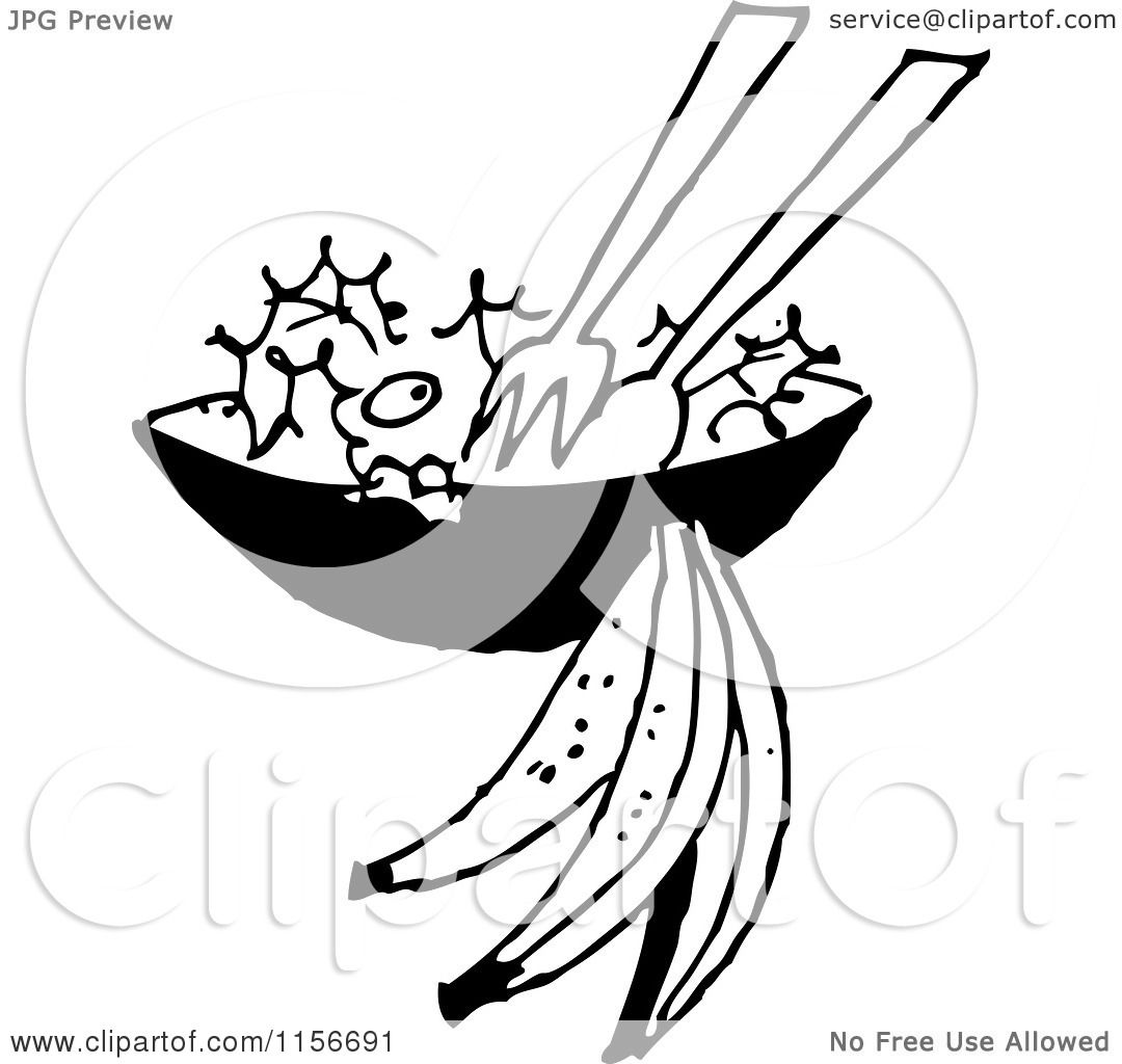 Clipart Of A Black And White Retro Salad