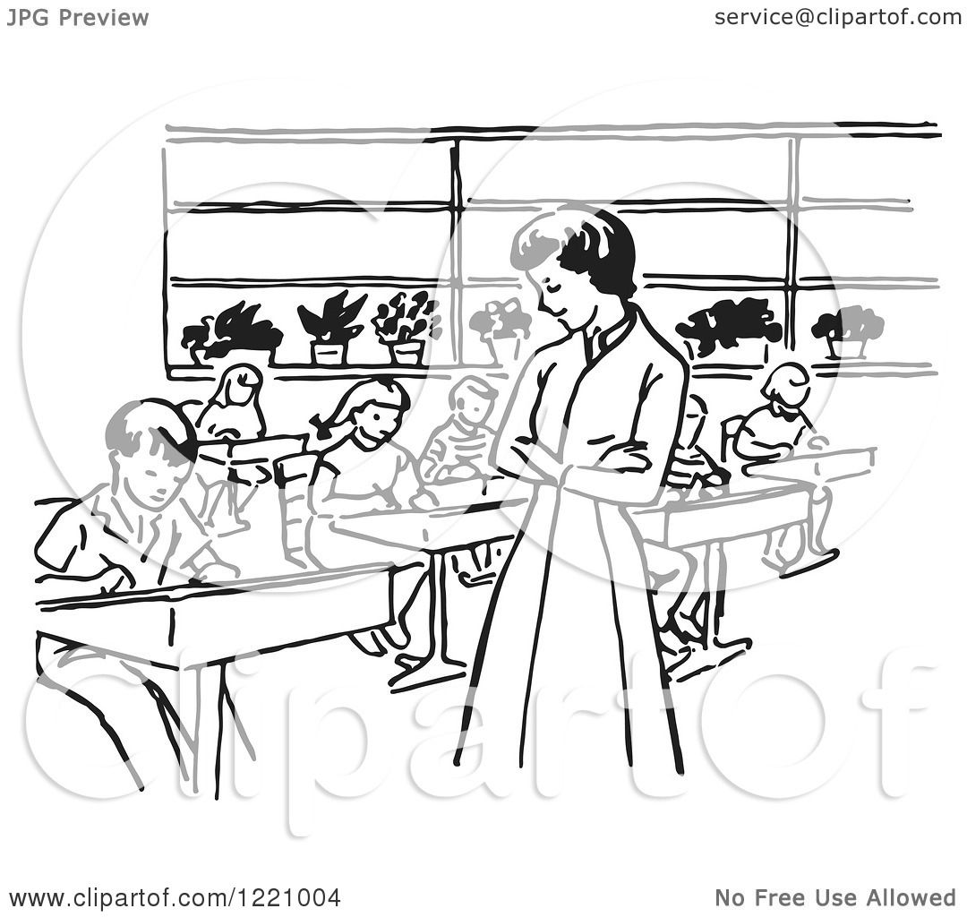 Clipart of a Black and White Retro Teacher Watching