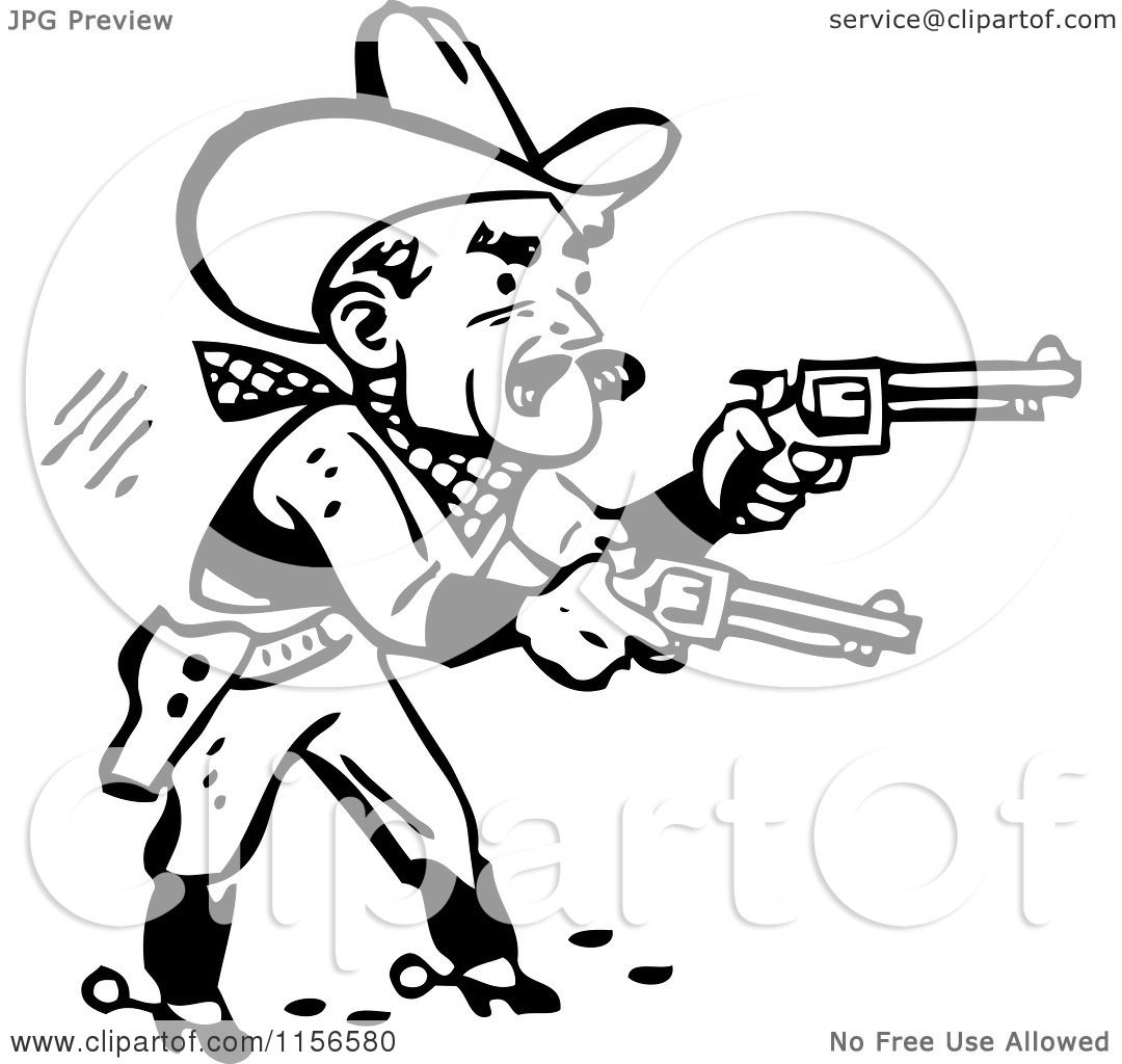 Clipart of a Black and White Retro Western Cowboy Shooting