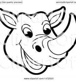 clipart of a black and white rhinoceros mascot face royalty free vector illustration by lal [ 1080 x 1024 Pixel ]