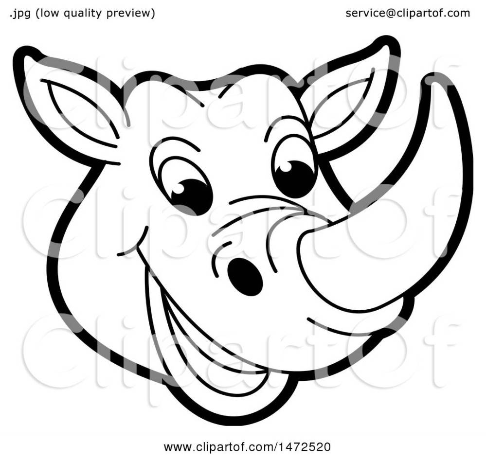 medium resolution of clipart of a black and white rhinoceros mascot face royalty free vector illustration by lal
