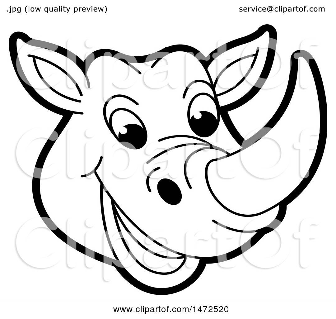 hight resolution of clipart of a black and white rhinoceros mascot face royalty free vector illustration by lal