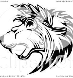 clipart of a black and white roaring lion head in profile with leaves in his [ 1080 x 1024 Pixel ]