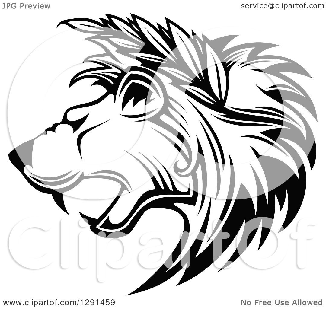 hight resolution of clipart of a black and white roaring lion head in profile with leaves in his