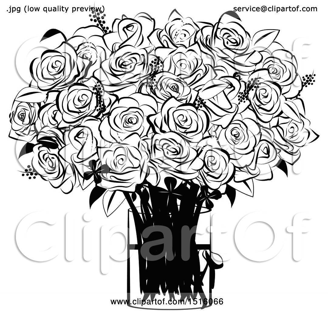 Clipart Of A Black And White Rose Boquet In A Vase