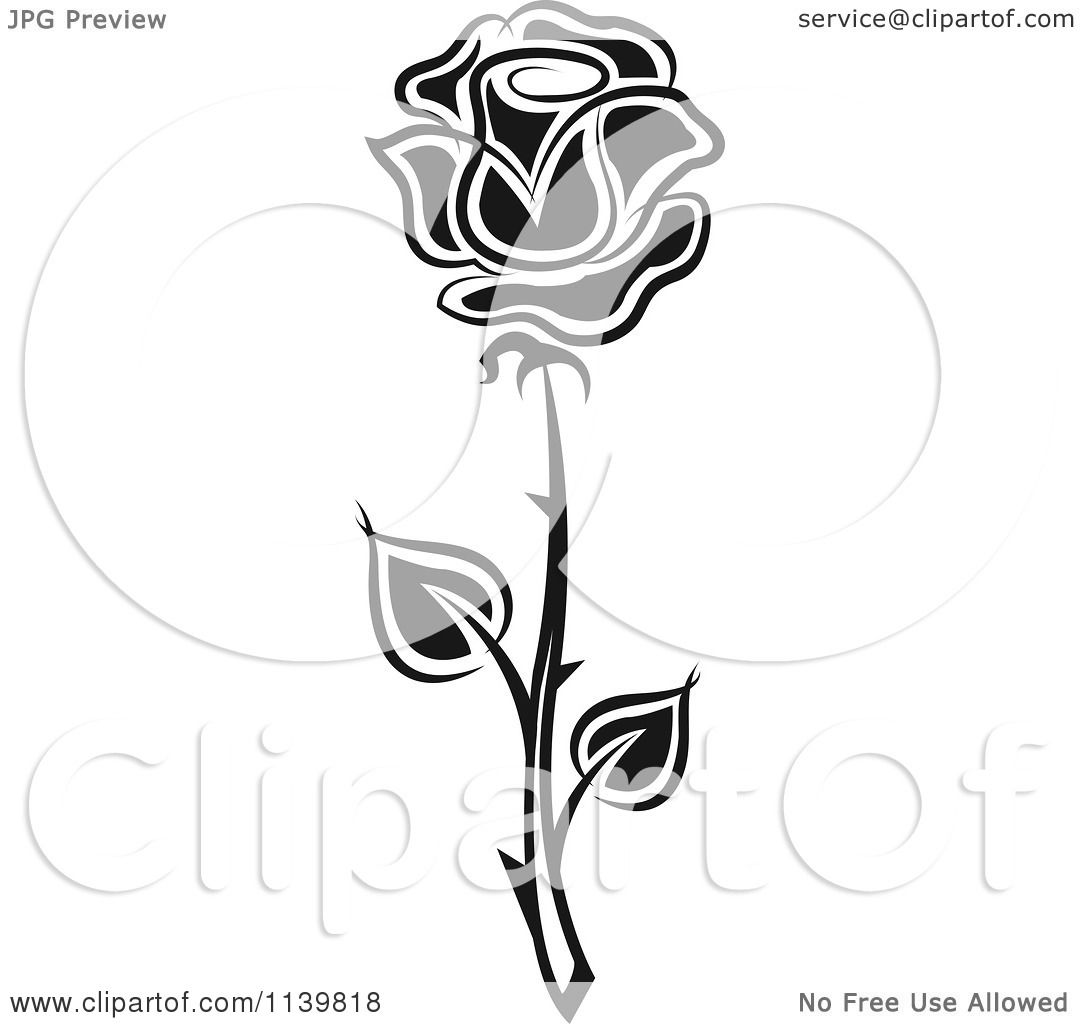 Clipart Of A Black And White Rose Flower 29