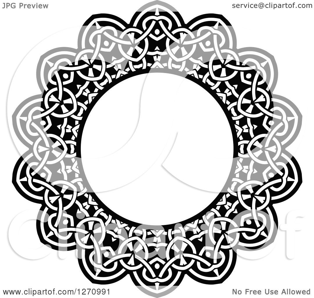 Clipart Of A Black And White Round Lace Frame Design 2