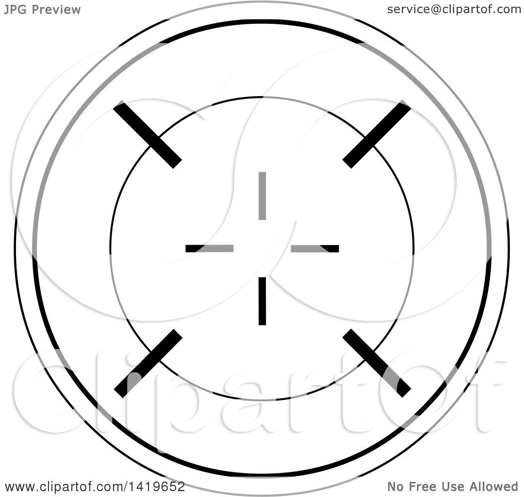 Clipart of a Black and White Round Rifle or Sniper Scope