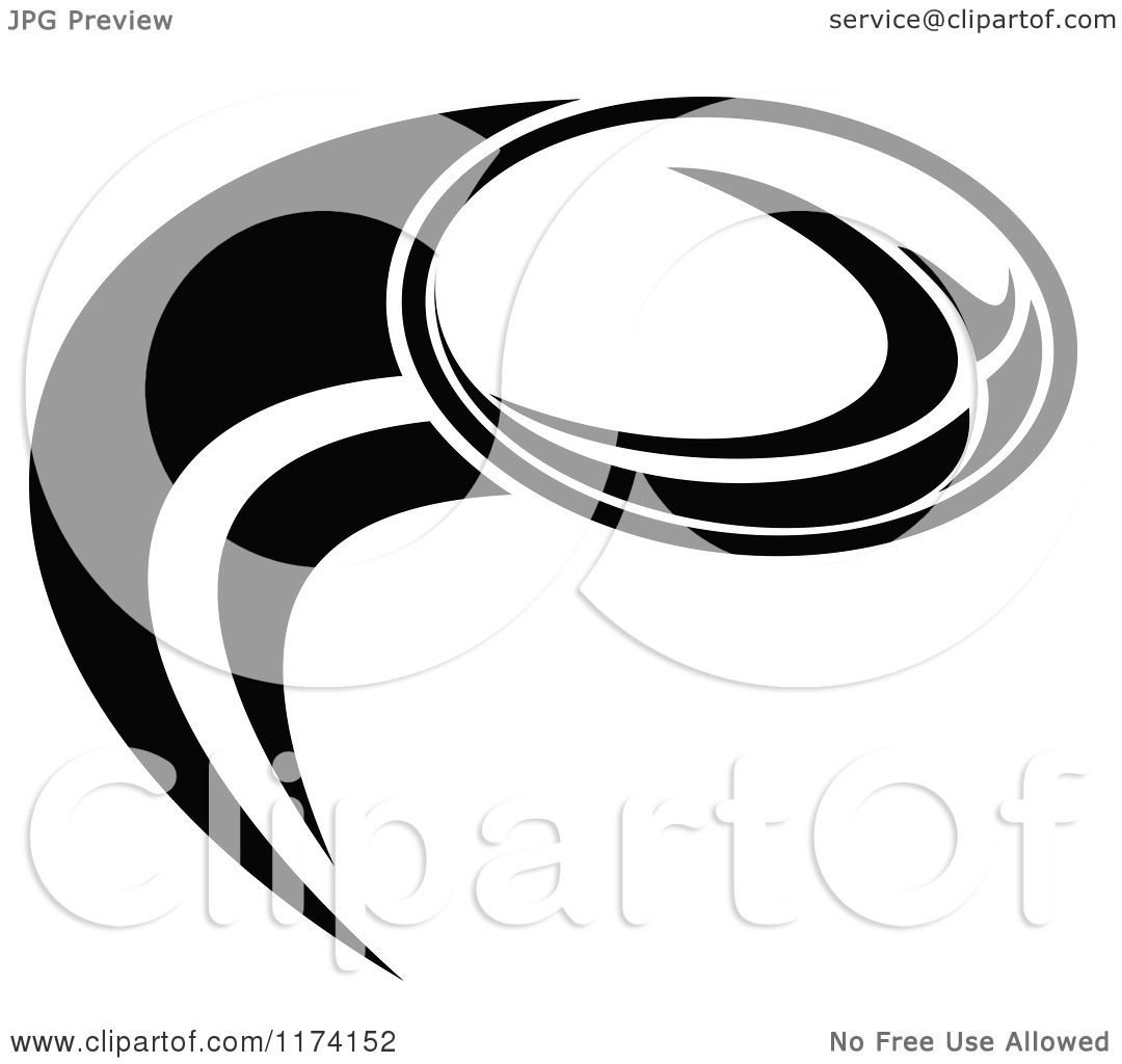 Clipart Of A Black And White Rugby Ball And Swoosh With A