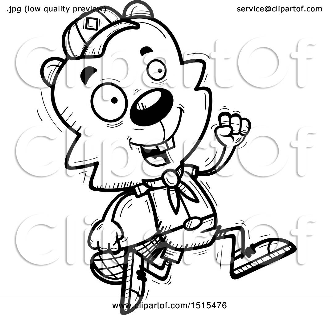 Clipart Of A Black And White Running Male Beaver Scout