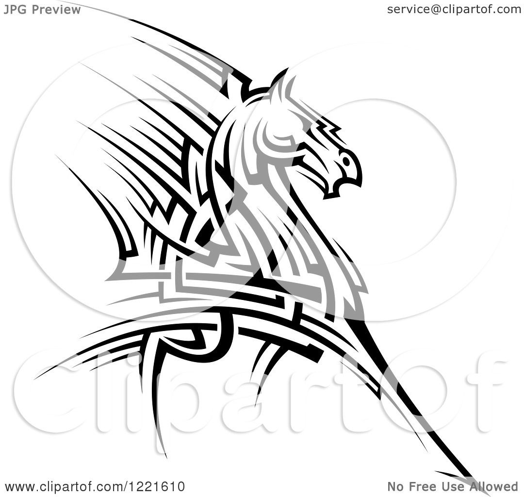 Clipart Of A Black And White Running Tribal Horse 2