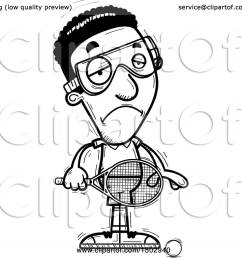 clipart of a black and white sad african american man racquetball player royalty free vector illustration by cory thoman [ 1080 x 1024 Pixel ]