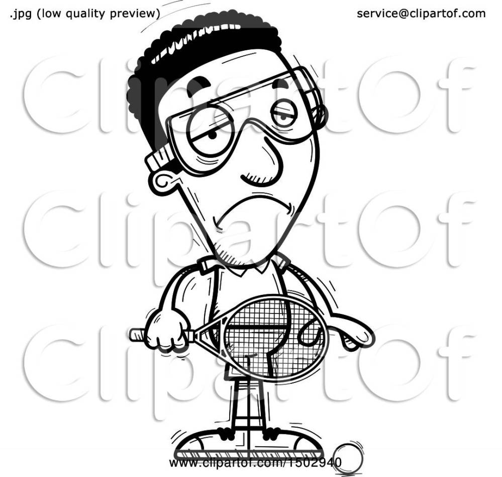 medium resolution of clipart of a black and white sad african american man racquetball player royalty free vector illustration by cory thoman