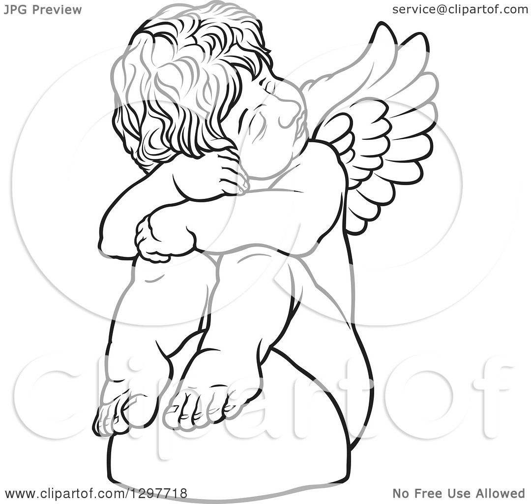 Clipart Of A Black And White Sad Angel Sitting On A Rock