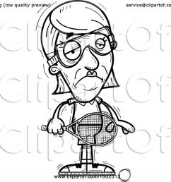 clipart of a black and white sad senior woman racquetball player royalty free vector illustration by cory thoman [ 1080 x 1024 Pixel ]