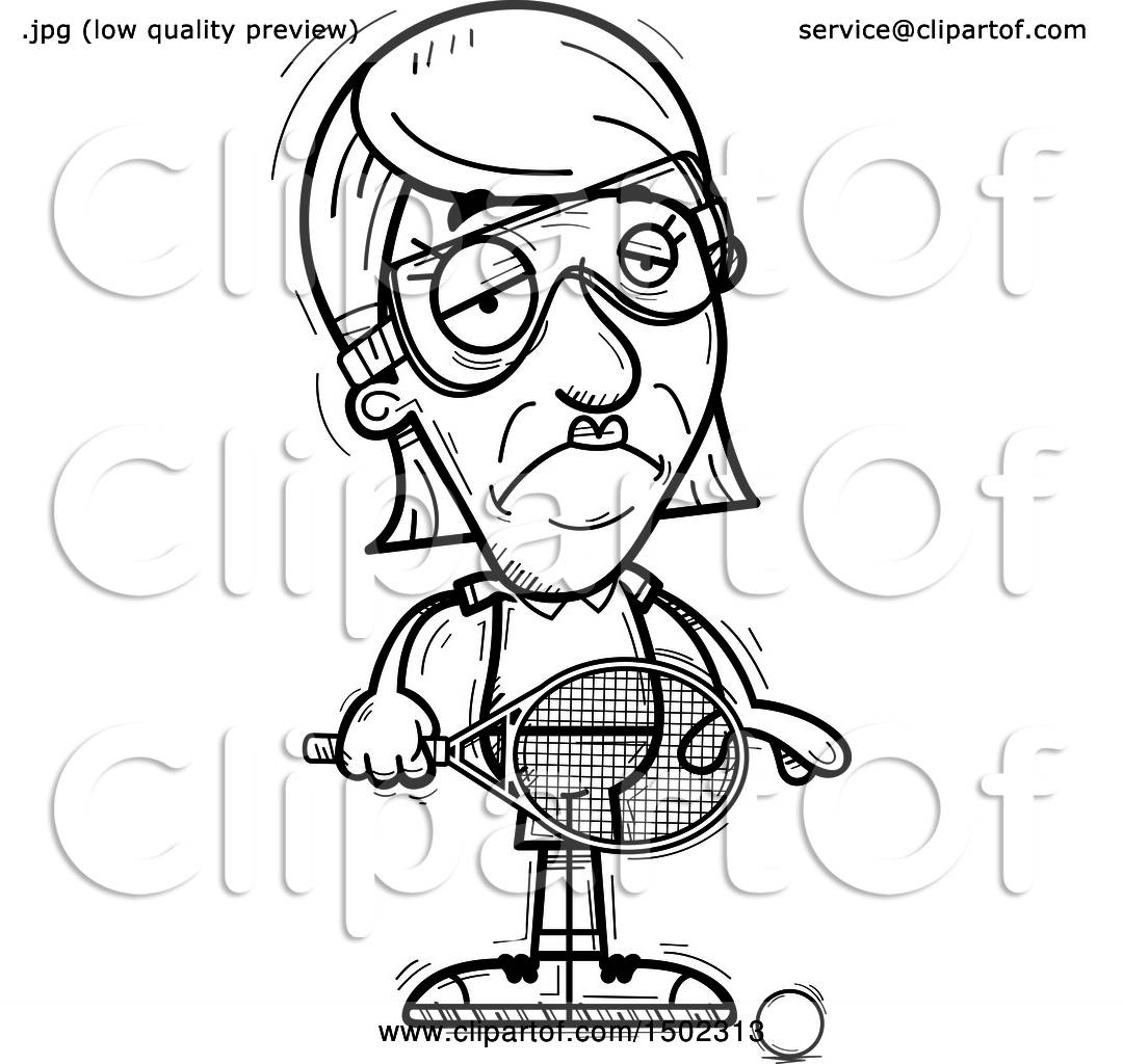 hight resolution of clipart of a black and white sad senior woman racquetball player royalty free vector illustration by cory thoman