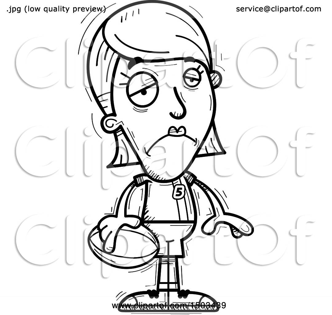 Clipart Of A Black And White Sad White Female Rugby Player