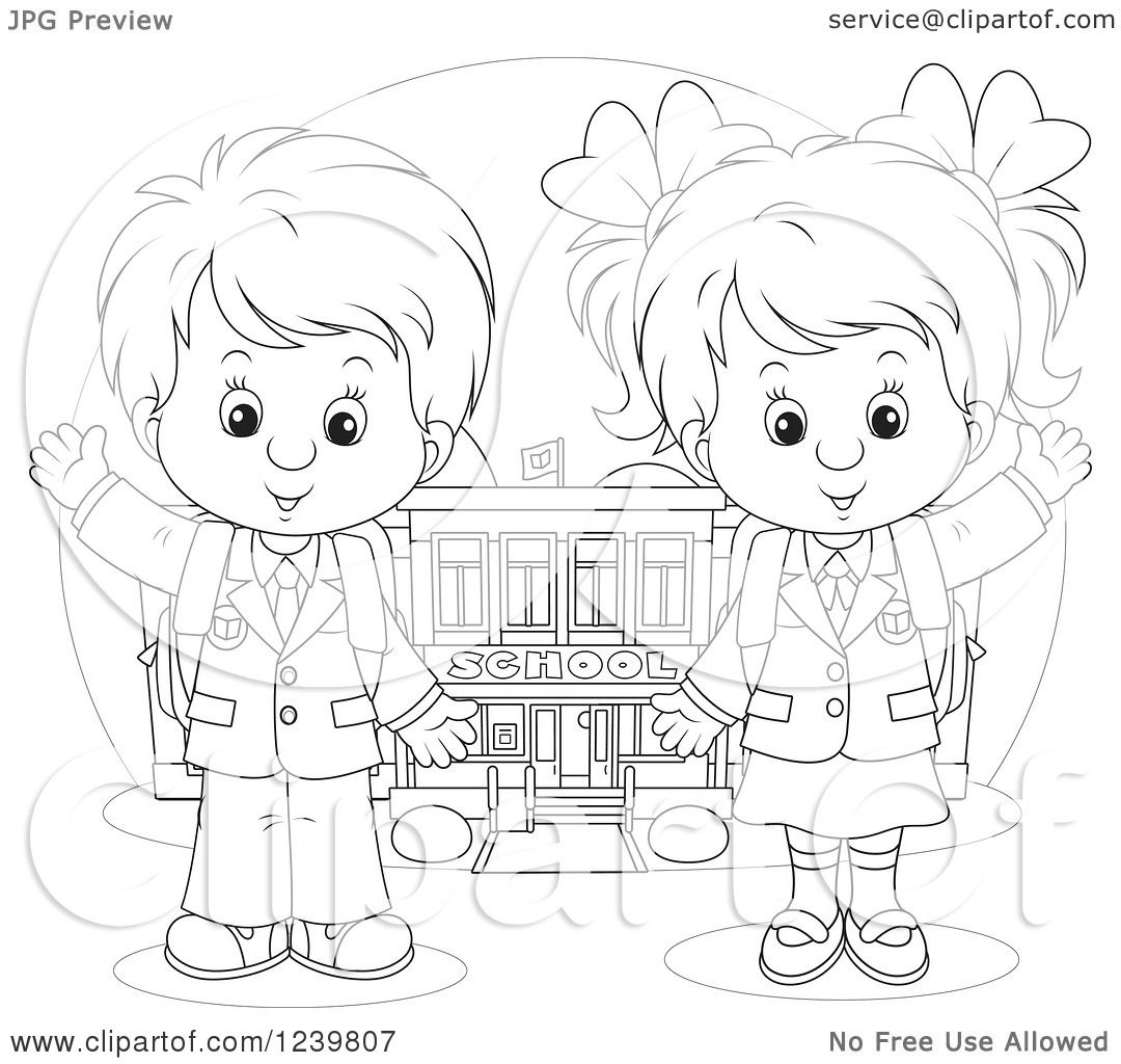 Clipart Of A Black And White School Boy And Girl Waving By