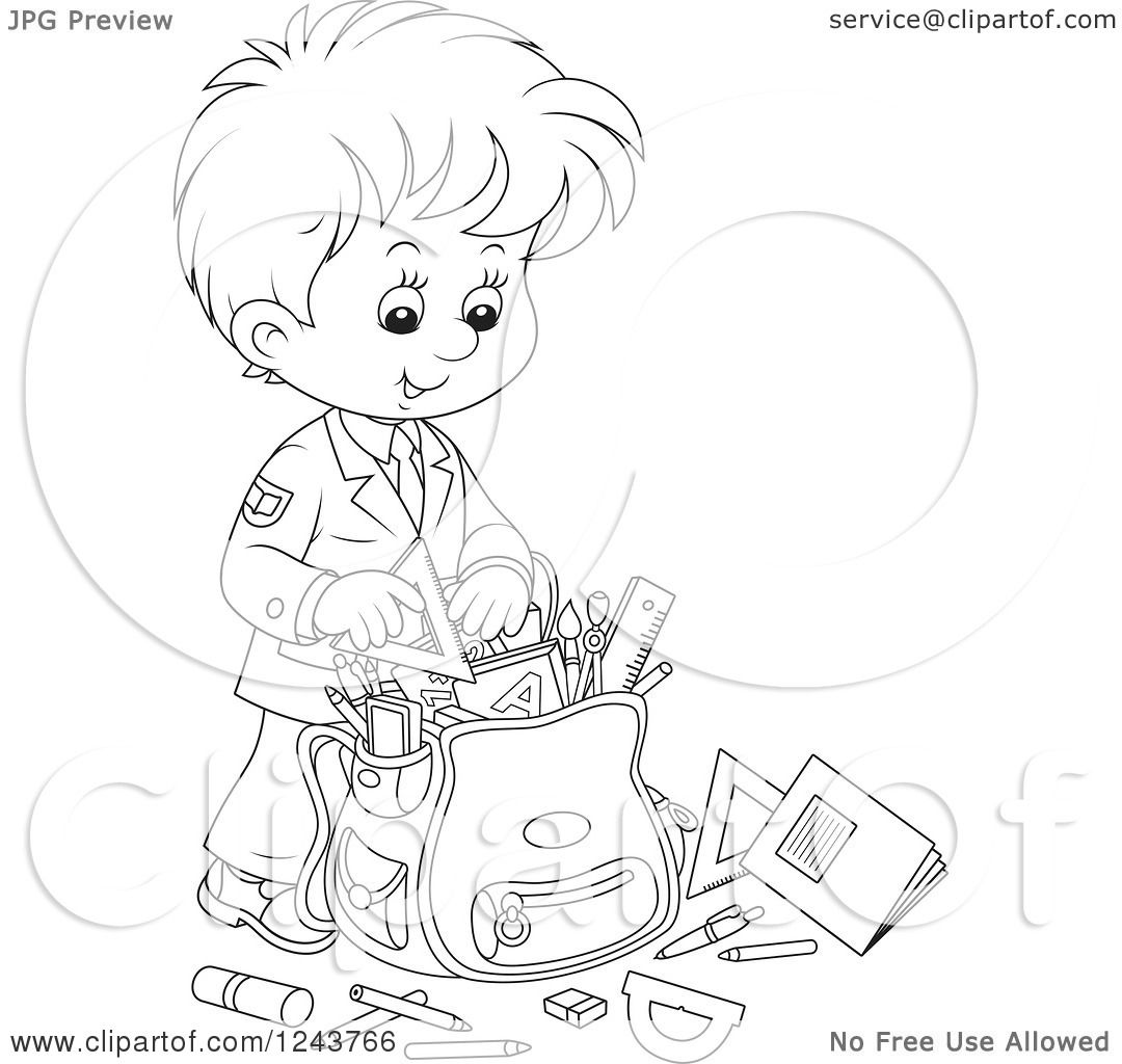 Clipart Of A Black And White School Boy Packing Supplies In A Bag