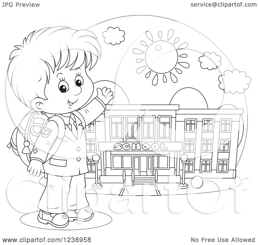 Clipart Of A Black And White School Boy Presenting A