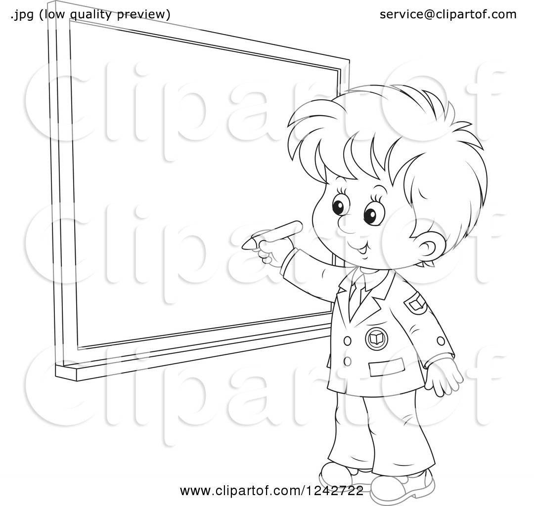 Clipart Of A Black And White School Boy Writing On A Grid