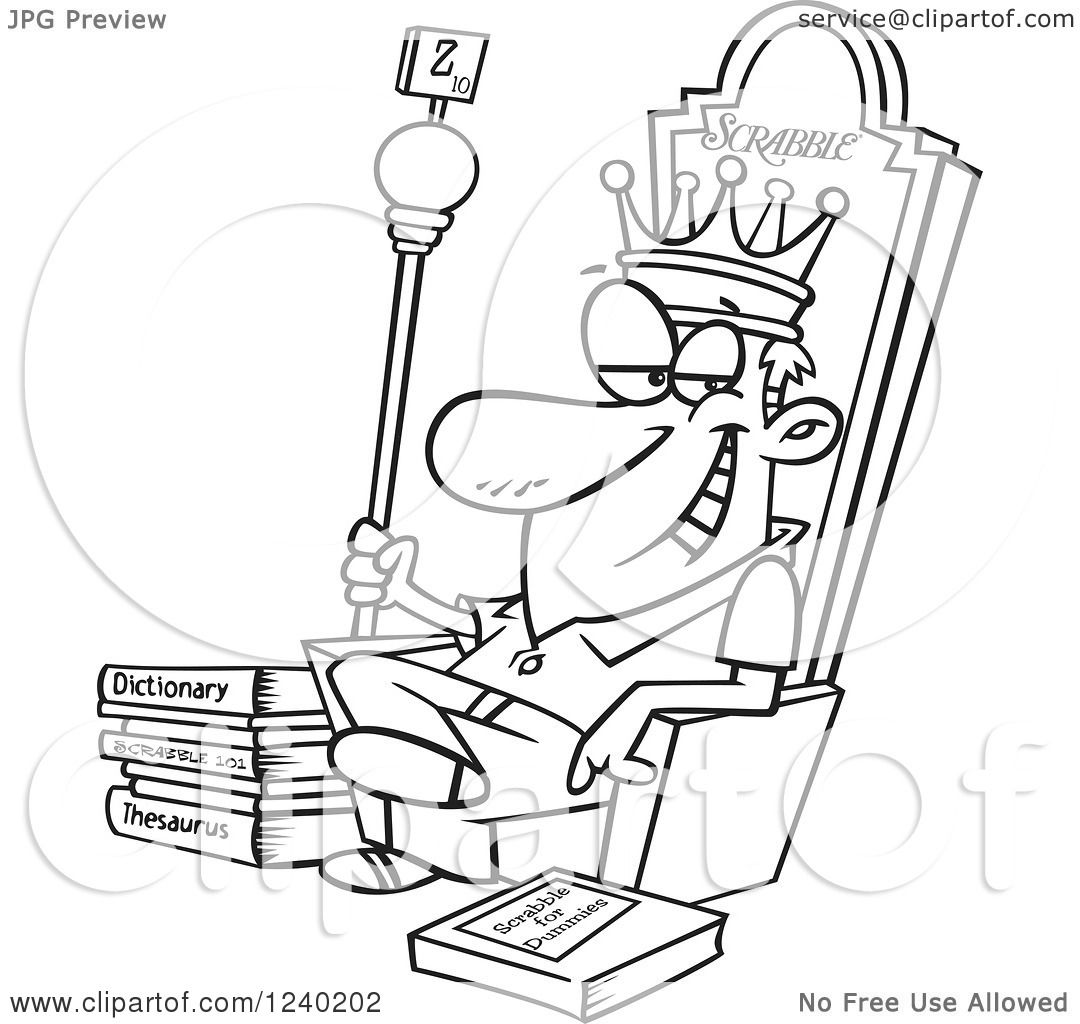 Clipart Of A Black And White Scrabble King Sitting On His