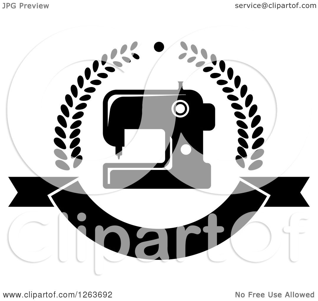 Clipart Of A Black And White Sewing Machine In A Laurel