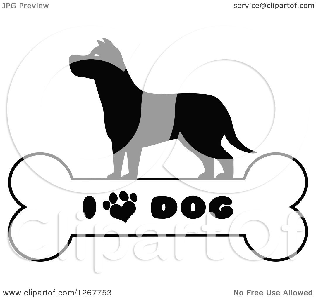 Clipart Of A Black And White Silhouetted Canine Over A