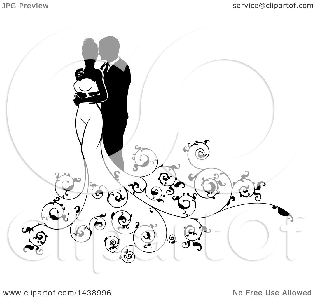 hight resolution of clipart of a black and white silhouetted posing wedding couple with swirls royalty free vector